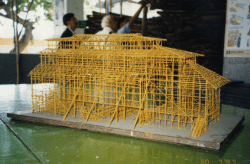 A model of bamboo scaffolding, made by trainees of the Construction Industry Training Authority. 1990s