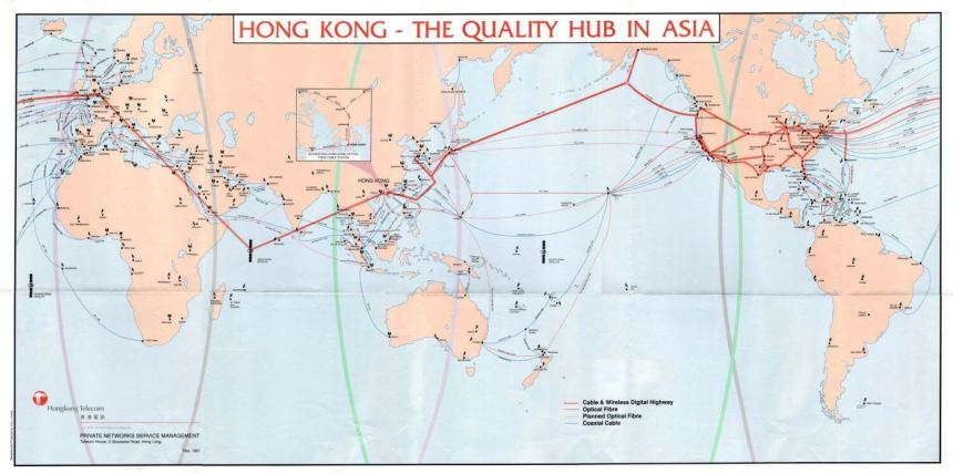 Cable 1991-HongKong HK Telecom map