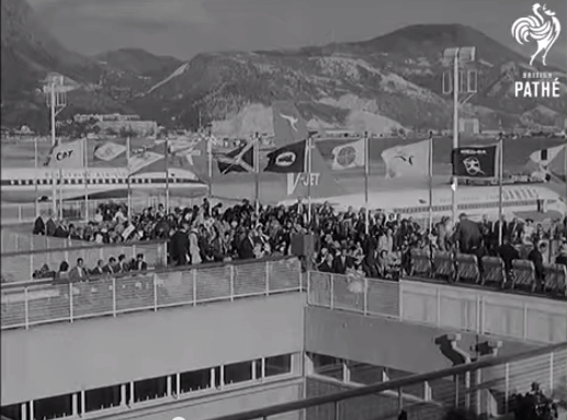 Kai Tak Airport Pathe Film 1962 People on the roof at the building opening ceremony