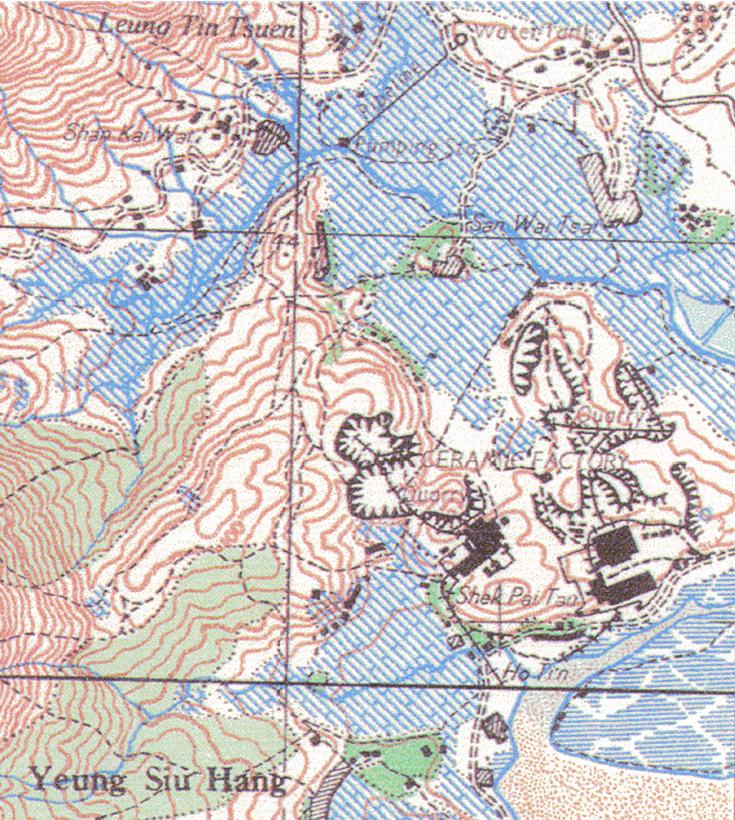 Tuen Mun Ceramics Factory 1957 map close up overlay Tymon Mellor