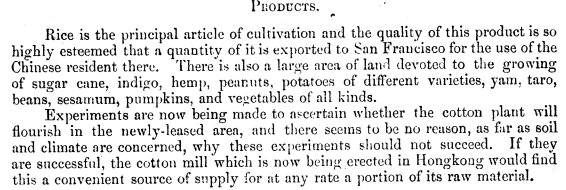 Lockhart Report 1898 products, rice, cotton
