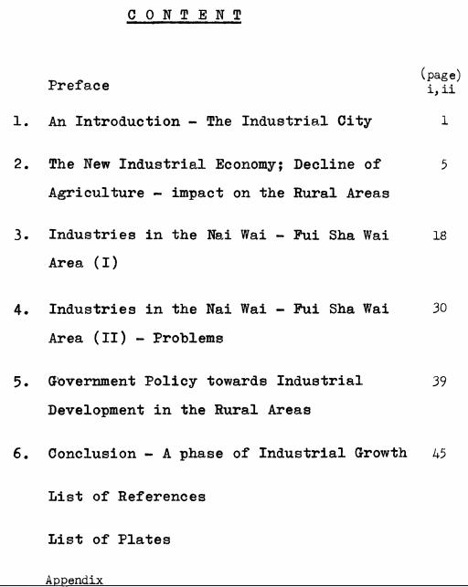 Industries Nai Wai.Fui Shan Wan 1969 dissertation contents