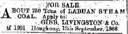Coal Advert Gibb, Livingston & Company, HK Daily Press 29th March 1867