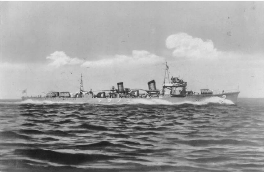 Yugure, Jap Destroyer, Underway, 1930s Courtesy World War 11 Database