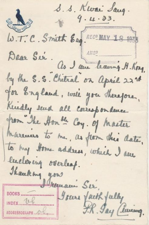 Percy Cuming, Letter On Leaving HK, From Graham Pepper