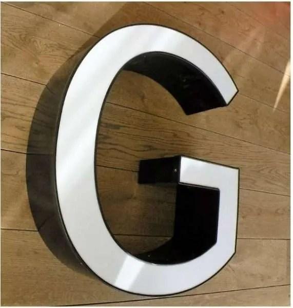 reclame letterlamp G zijkant 1