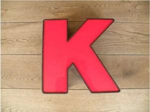 letterlamp zwart rood K 1