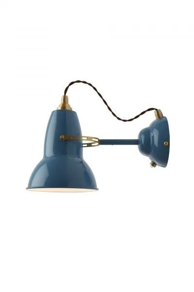 Original 1227 messing wandlamp Dusty Blue 1