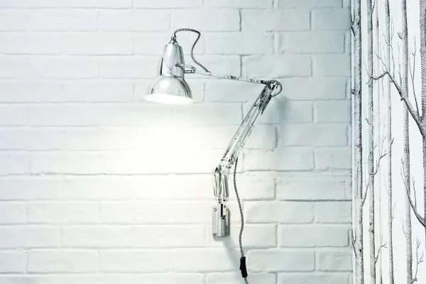 Original 1227 muur Lamp - Bright Chrome w BW Cable