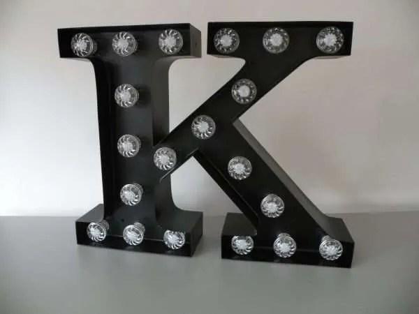 letterlamp bakletter K voorkant