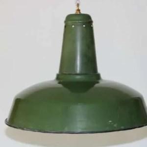 Geëmailleerde groene hanglamp XL