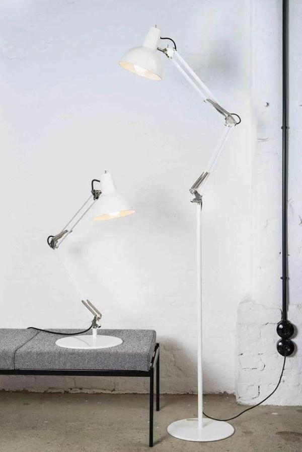 Midgard staande lamp BINK wit met bureaulamp
