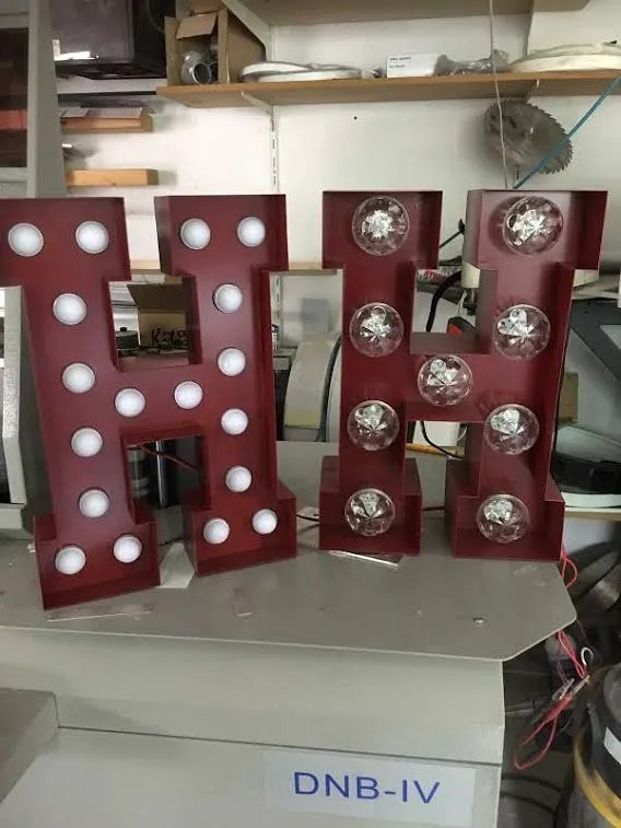 Letterlampen staal prefab BINK lampen lights-off
