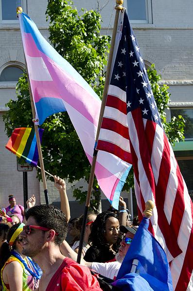 Pink flag, US Flag, Pride flag in Washington, DC pride parade