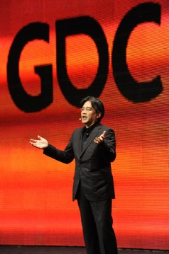 Nintendo president Satoru Iwata presents the keynote speech at the Game Developers Conference (GDC) in 2011