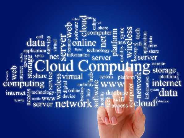 Photo and text illustration showing the complex connections of cloud computing.