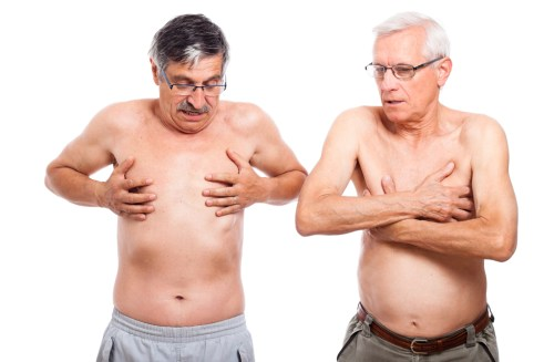 Two shirtless men explore their breast area.