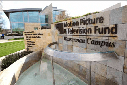 A photo of the entrance to the Motion Picture and Television Fund.