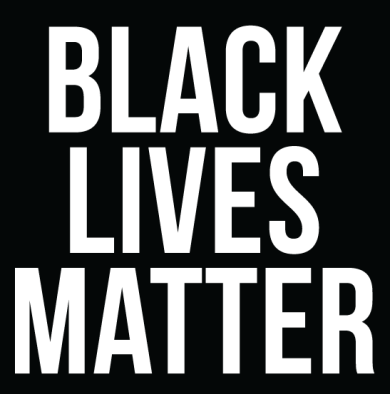 "A black and white photo of the text ""Black Lives Matter."""