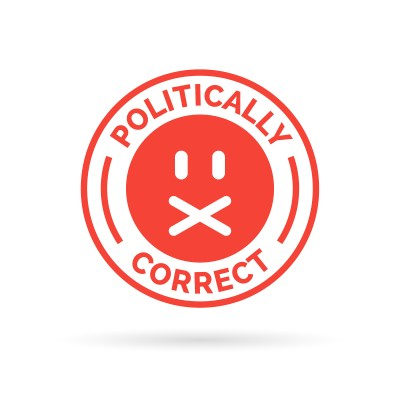 "The words ""politically correct"" written in red with a frowny face."