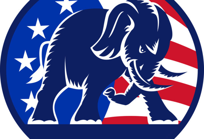 The Republican mascot—an elephant—shown in an aggressive stance.