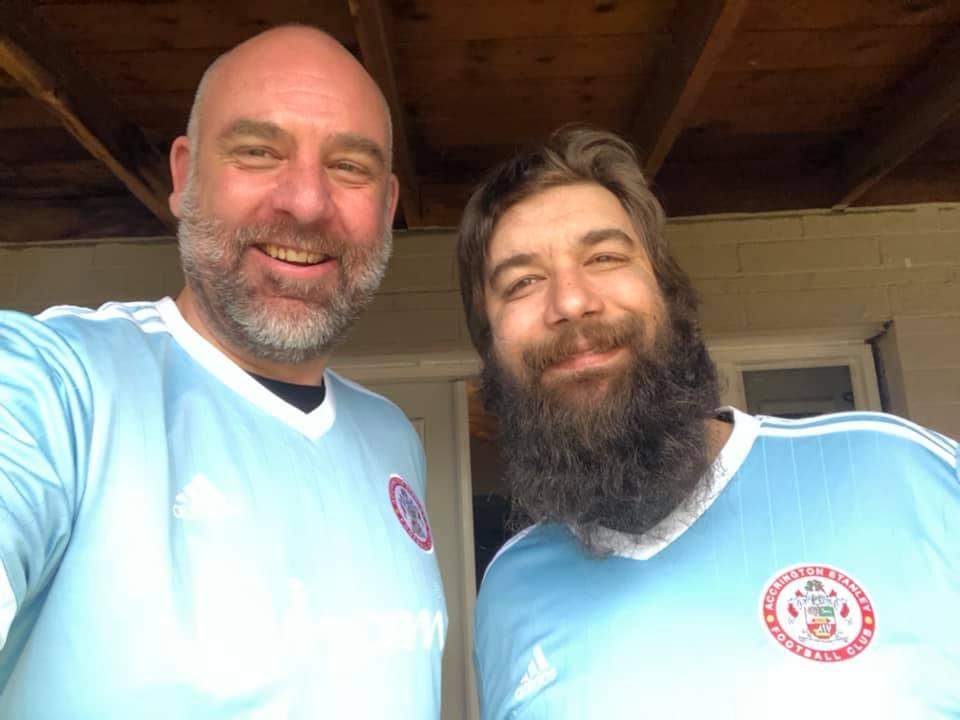 Phil and Arran blue Accrington shirts