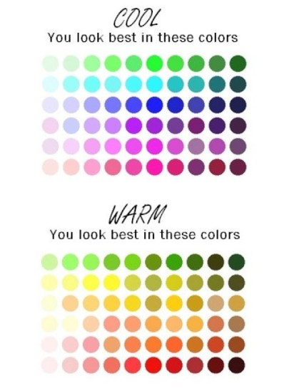 A range or warm and cool colours