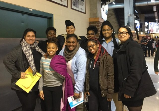 Edna Martin Christian Center students and staff attending the Michelle Obama Conversation (Front row - Jaelyn Powell, 3rd from right; Shayonna Gray, 2nd from right)