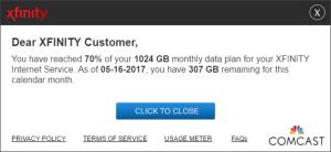Comcast Xfinity Data Plan Usage Cap