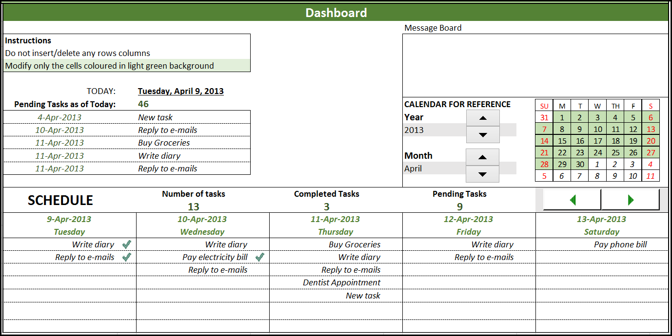task manager excel template dashboard