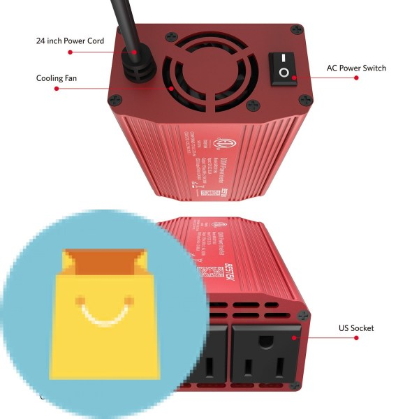 300W Power Inverter 12V DC to 110V AC Car