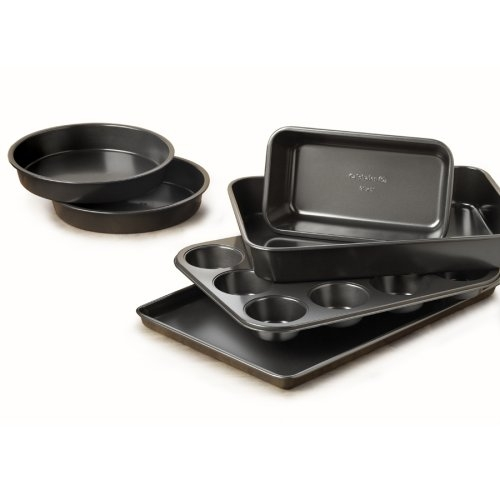 Calphalon Nonstick Bakeware Set Calphalon Nonstick Bakeware Set, 6-Pieces Durable nonstick easily releases baked goods and cleans up quickly; Oven safe to 450 degrees; Dishwasher-safe and protected by a full 10-year warranty; Set Includes: Two 8-in. Round Cake Pans, One Medium Loaf Pan, One 9x13-in. Cake Pan, One 12-Cup Muffin Pan, One 10x15-in. Baking Sheet.