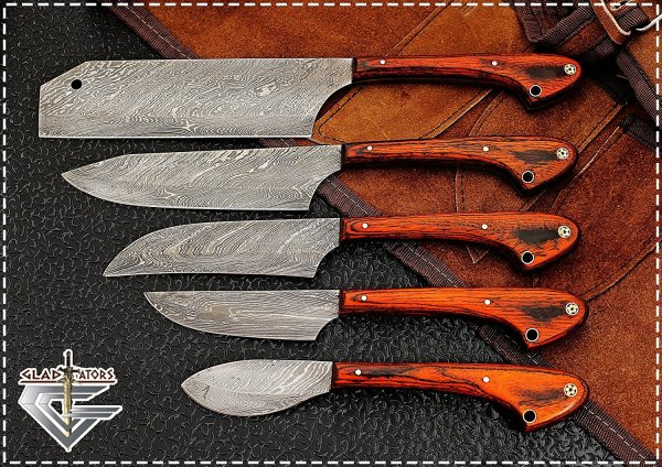 Professional Kitchen Chef Knife Set with 5 Pocket Case