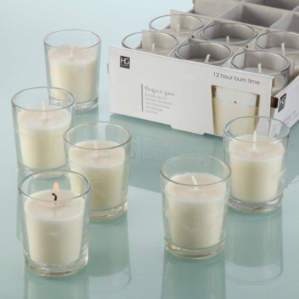Set of 48 Unscented Glass Filled Votive Candles