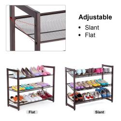 3-Tier Stackable Metal Shoe Rack Flat & Slant Adjustable Shoe Organizer Shelf
