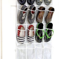 Clear Over the Door Hanging Shoe Organizer 24 Pockets - Simple Houseware Crystal Clear Over the Door Hanging Shoe Organizer, Gray (64'' x 19'')