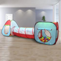 Kiddey Children's Dual Play Tent with Tunnel (3-Piece Set) Kiddey Children's Dual Play Tent with Tunnel (3-Piece Set) – Indoor/Outdoor Playhouse for Boys and Girls – Lightweight, Easy to Setup – Promotes Imagination and Early Learning in Kids.