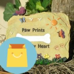 "Pet Memorial Desk Top Message Rock Pet Memorial Desk Top Message Rock - Paw Prints On My Heart - Approx. 3"" H x 3 1/2"" W."