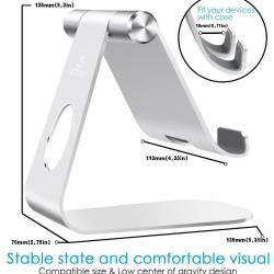 Tablet Stand Adjustable, Lamicall iPad Stand Tablet Stand Adjustable, Lamicall iPad Stand : Desktop Stand Holder Dock for new iPad 2017 Pro 9.7, 10.5, Air mini 2 3 4, Kindle, Nexus, Accessories, Tab, E-reader, other Tablets (4-13 inch) - Silver
