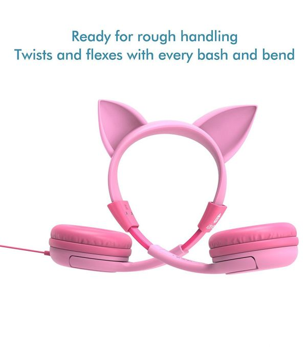 iClever BoostCare Kids Headphones Cat-inspired iClever BoostCare Kids Headphones, Cat-inspired Wired On-Ear Headsets with 85dB Volume Limited, Food Grade Silicone Material (Kids-friendly), 3.5mm Audio Jack Cable, Children Headphones for Kids, Pink.