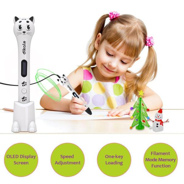 3D Doodler Drawing Printing Pen with OLED Display 3D Pen for Kids - Dikale 05A (2017 Newest Design) 3D Doodler Drawing Printing Pen with OLED Display, 2 Free PLA Filament, 20 Stencils, Best Christmas Gifts and Toys for Boys, Girls & Adults.