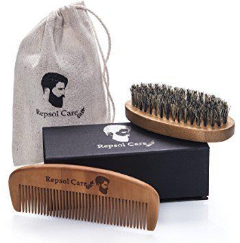 Beard Brush and Beard Comb kit for Men Grooming, Styling & Shaping