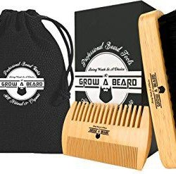 Beard Brush and Comb Set for Men Beard Brush and Comb Set for Men - Friendly Gift Box And Cotton Bag - Best Bamboo Beard Kit for Home and Travel - Great for Dry or Wet Beards - Adds Shine and Softness.