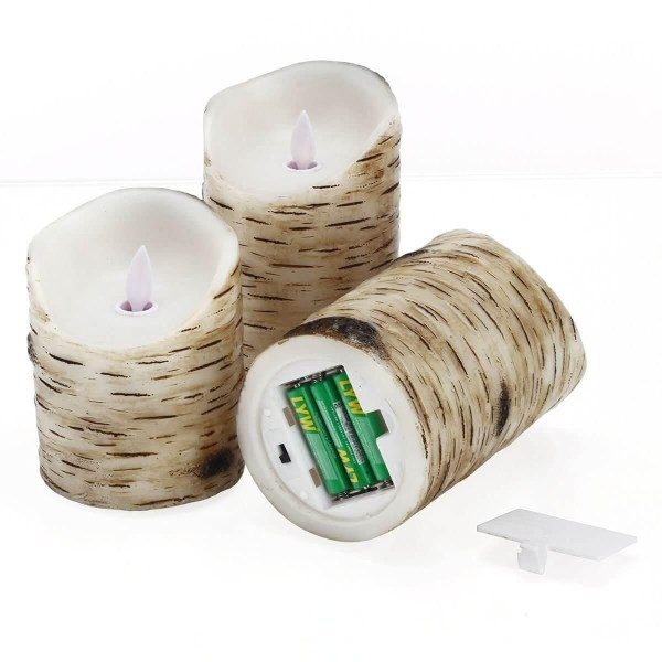 Birch Bark Battery Candles Real Wax Pillar with Remote Timer
