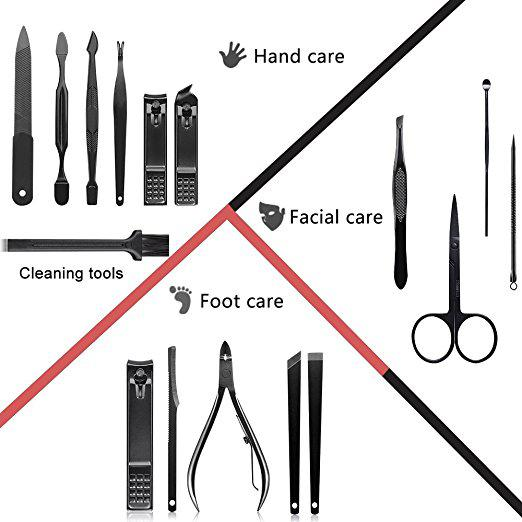 Mens Professional Pedicure Kit Nail Scissors Grooming Kit Mens Manicure Set - Mifine 16 In 1 Stainless Steel Professional Pedicure Kit Nail Scissors Grooming Kit with Black Leather Travel Case (Red).