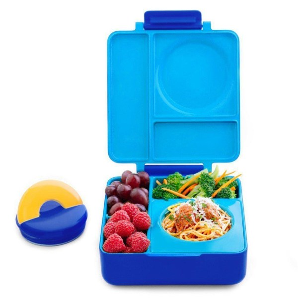 OmieBox Bento Lunch Box OmieBox Bento Lunch Box With Stainless Steel Vacuum Insulated Food Flask, Blue Sky.