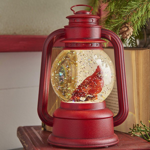 Red Lighted Lantern with Cardinal Bird in Continuous Swirling Glitter Snowglobe
