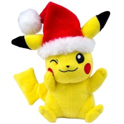 TOMY Pokémon Small Plush, Pikachu with Santa Hat Plush