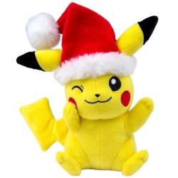 TOMY Pokémon Small Plush, Pikachu with Santa Hat Plush