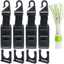 Car Headrest Hooks with Mini Duster for Car Air Vent Car Headrest Hooks with Mini Duster for Car Air Vent, SENHAI 4 Packs Universal Back Seat Hangers Organizers, with 1 Automotive Air Conditioner Cleaner and Brush.